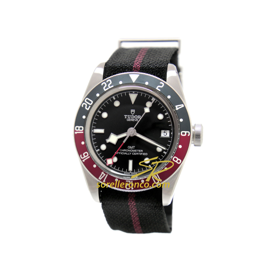 Black Bay GMT Cinturino Tessuto Ghiera BLU ROSSA
