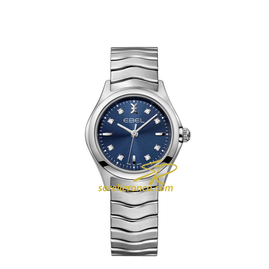 Orologio EBEL Wave 30mm Quarzo Quadrante Blu con Diamanti