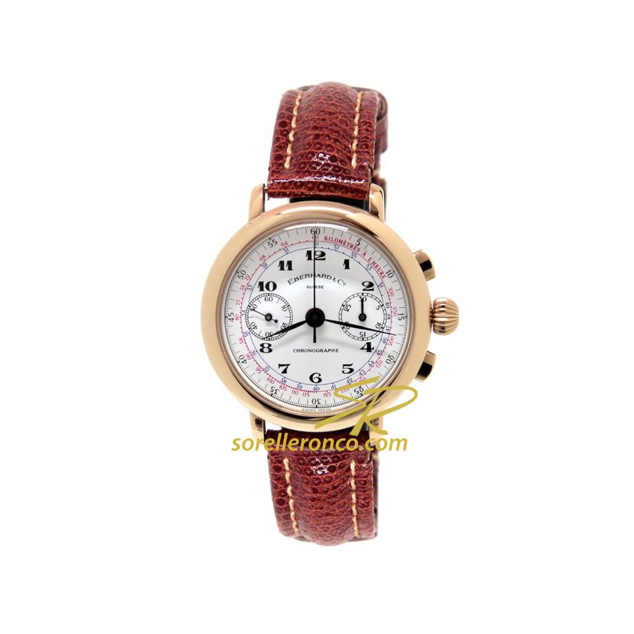 Orologio EBERHARD Replica 33mm Argento Placcato Oro Giallo Crono Manuale