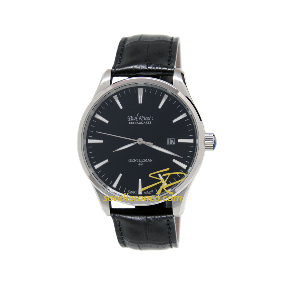 Gentleman 42mm Nero Indici al Quarzo