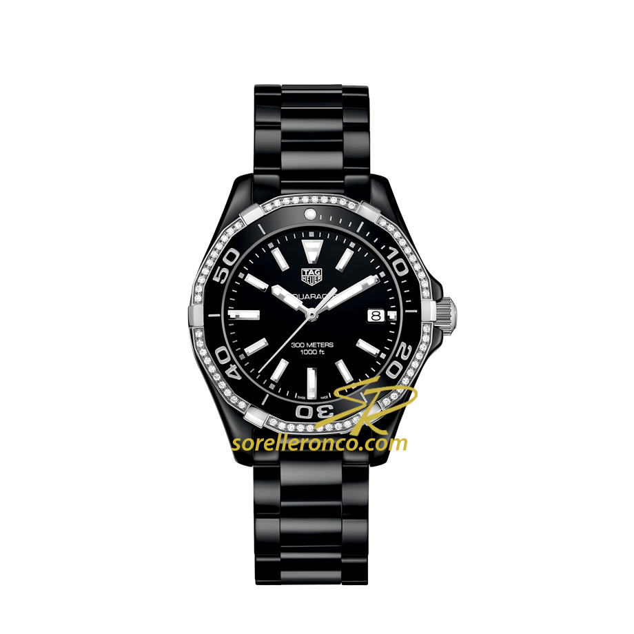 Orologio TAG HEUER Aquaracer Quarzo Ceramica Nera 300M Ghiera Diamanti 35mm