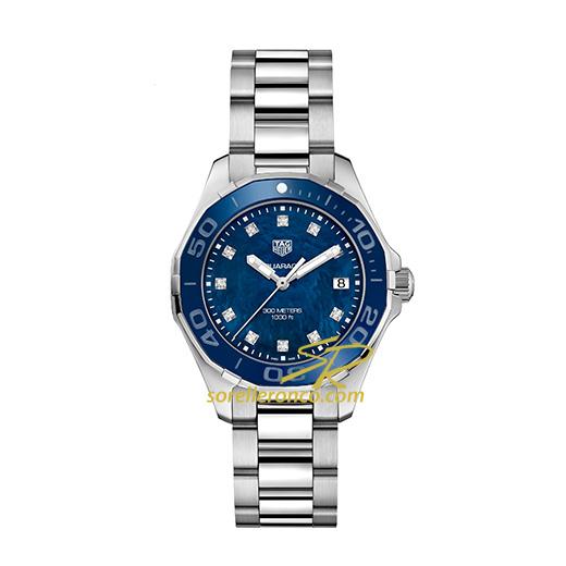 Aquaracer Madreperla Blu Diamanti Quarzo Acciaio 35mm