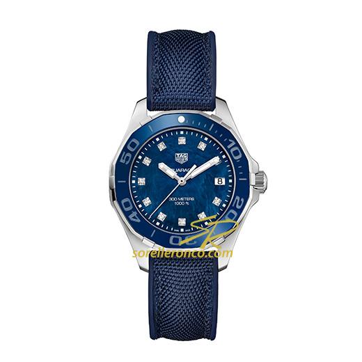Orologio Tag Heuer Aquaracer Madreperla Blu Diamanti Cinturino Tessuto Blu