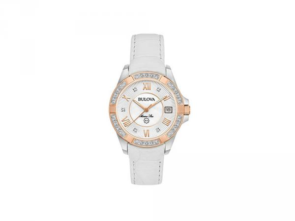 98R233 - Bulova Marine Star Bianco 32mm Pelle Diamanti