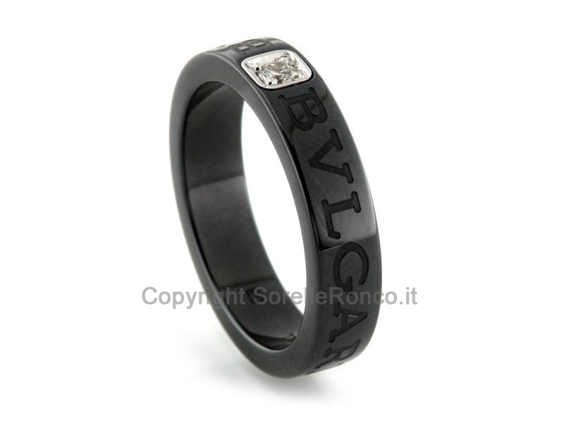check-out 8efd6 77680 Anello BVLGARI BVLGARI Ceramica Nera AN857211