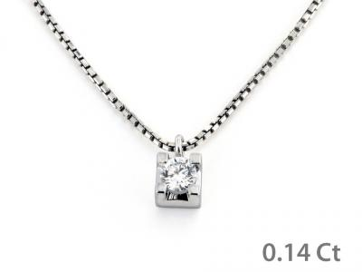 Collana Puntoluce con Diamante 0.14 Ct