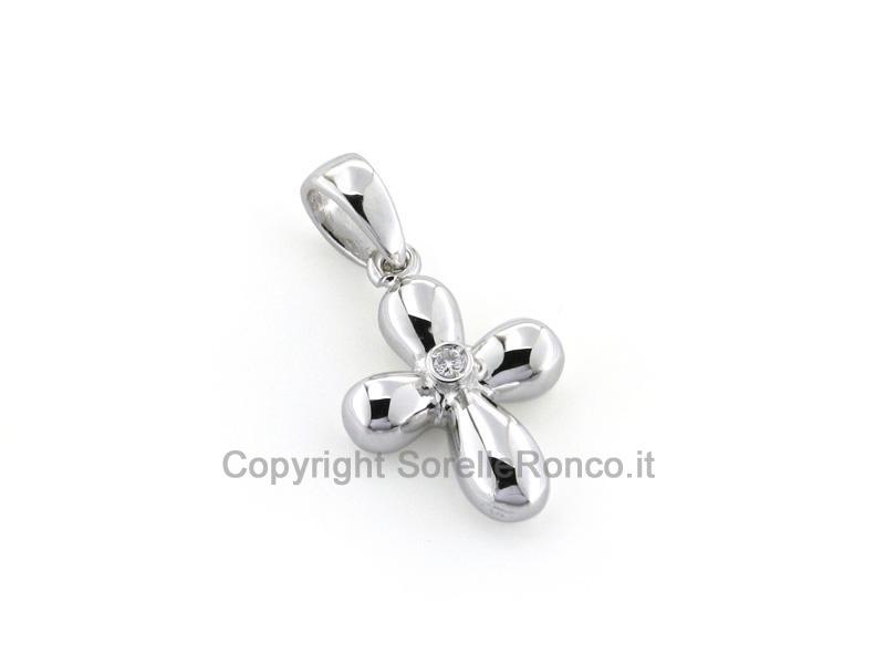 Croce in Oro Bianco 18kt con Diamante