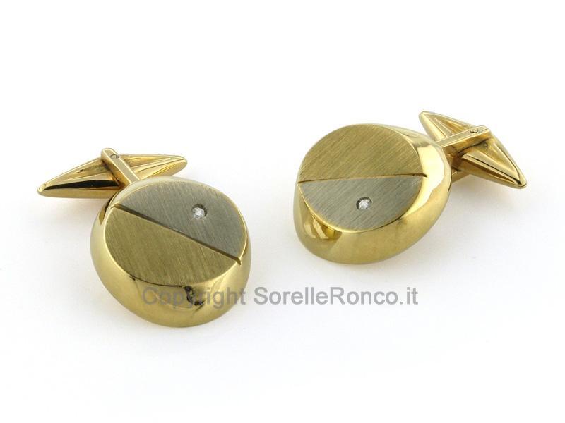 Gemelli Oro Bicolor Spazzolato e Diamante