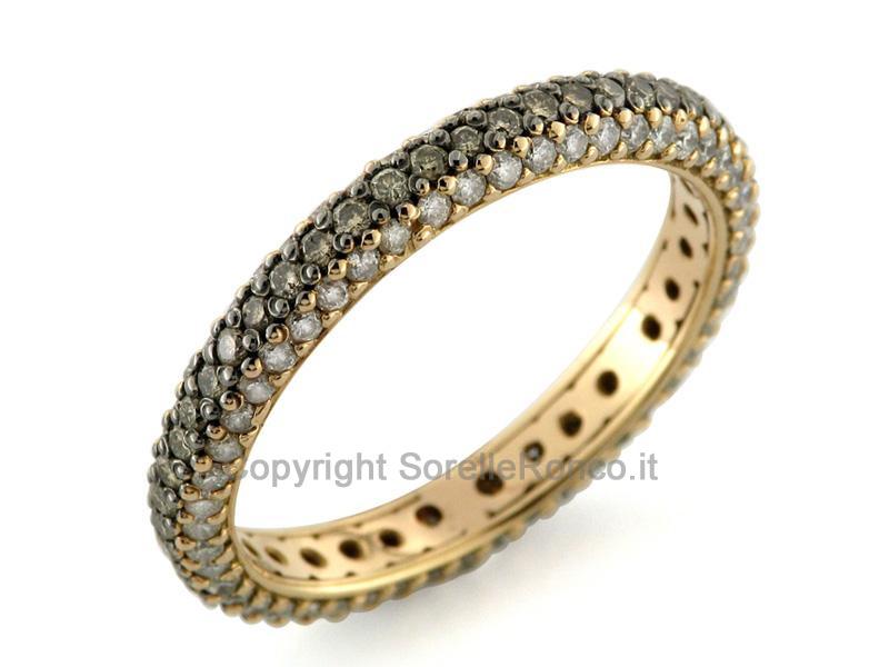 Anello oro rosso diamanti brown