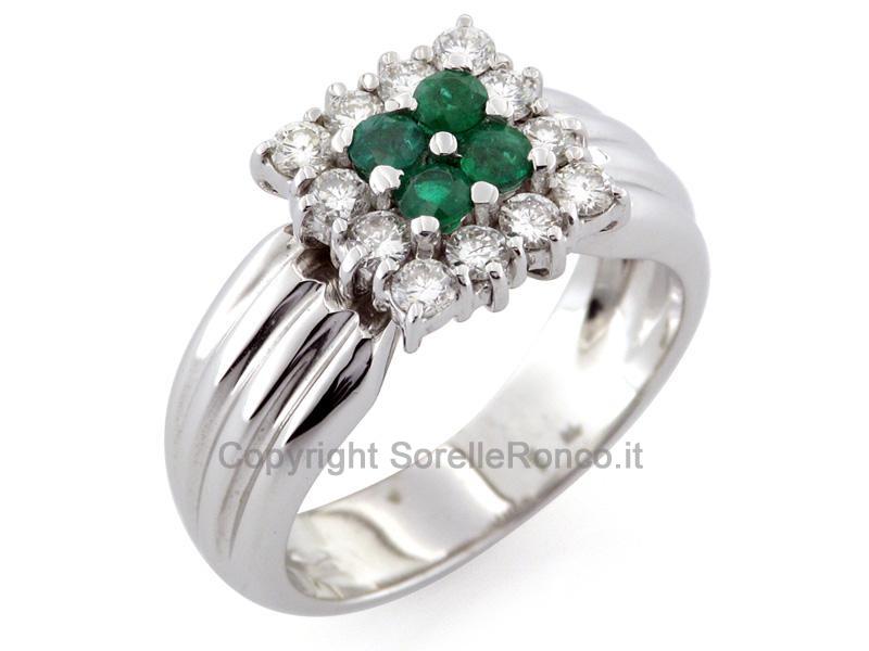Anello smeraldo naturale e diamanti