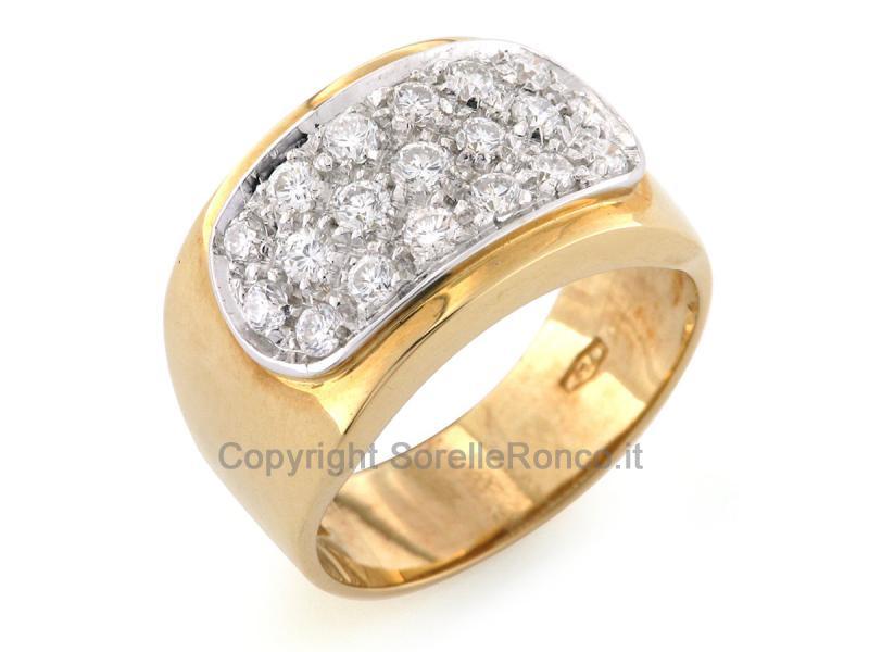 Anello fascione oro e diamanti