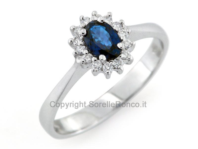 abbastanza ANELLO con ZAFFIRO e Diamanti Prezzo Offerta CF00982 YG75