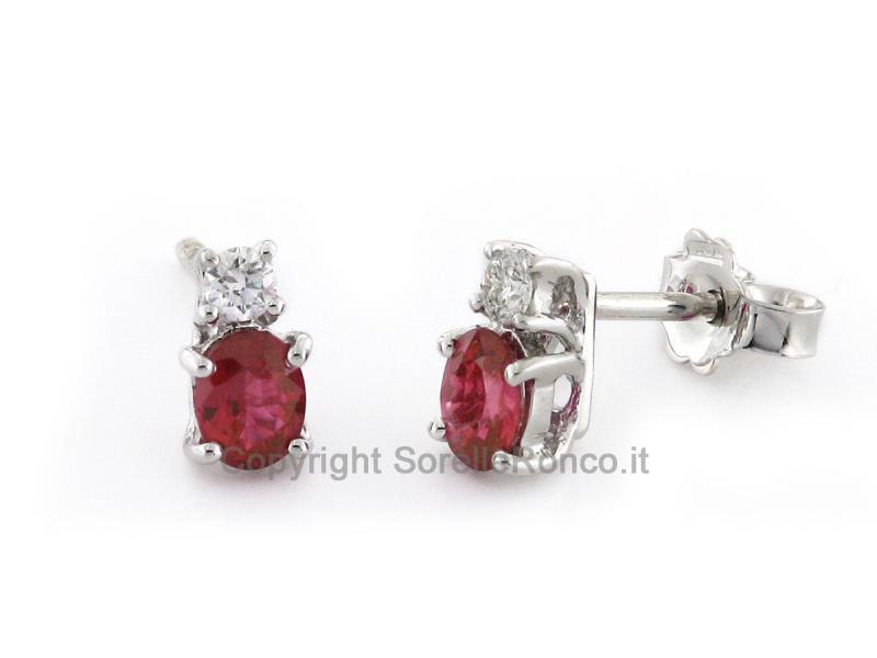 Orecchini Oro Diamanti e Rubini