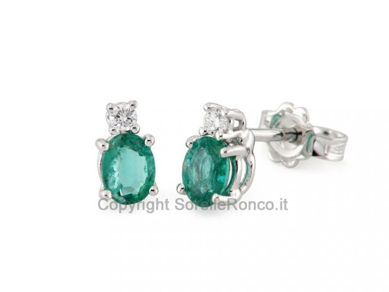 Orecchini Oro 18Kt Diamanti e Smeraldi