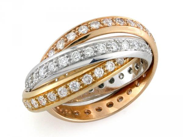 CF01053 - Anelli in Tris Oro  18kt con Diamanti da 2 Ct