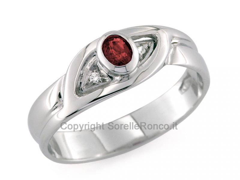 Anello Oro Diamanti e Rubino