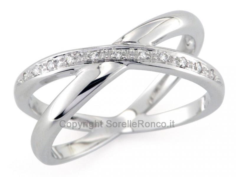 acquista originale ultime tendenze moda Anello Intrecciato Oro e Diamanti CF01044