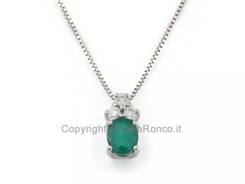 Collana Oro Bianco Diamanti e Smeraldo