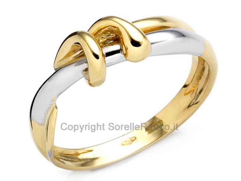 Anello Artigianale Bicolore Oro 18 Kt
