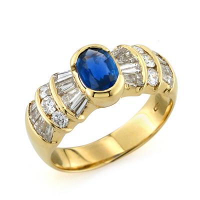 Anello Oro Diamanti e Zaffiro 0.84 Ct