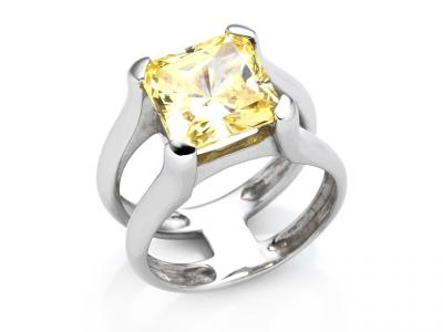 Anello Design Oro e Zircone Giallo