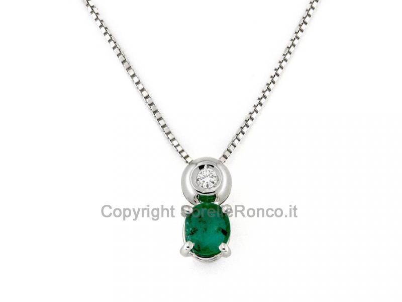 Conosciuto Collana con Smeraldo e Diamanti Brillanti MW84