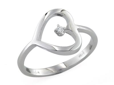 Anello Cuore con Diamante 0.02 Ct