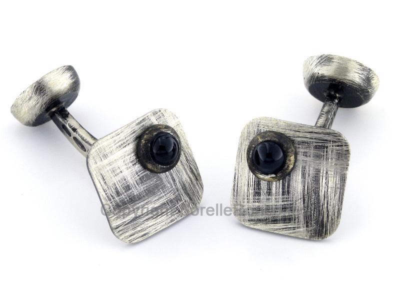Zulian gemelli Argento Spazzolato e Diamante