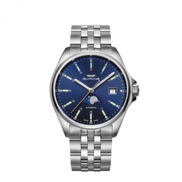 GL0191 - Glycine Combat Classic Moonphase Blu 40mm