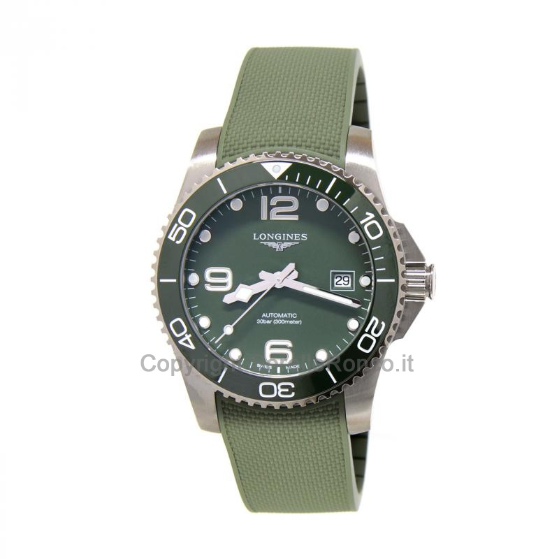 Hydroconquest Verde 41mm Cinturino Gomma Verde Ghiera Ceramica